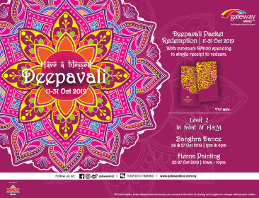 Redeem Deepavali packets with minimum purchase of RM100 at gateway@klia2!